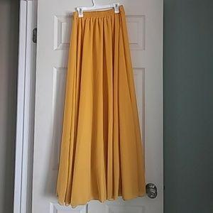Long mustard maxi skirt